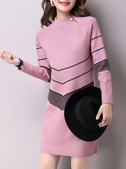 Zipper Long Sleeve Geometric Knitted Sweater Dress