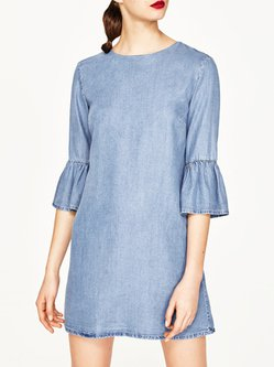 Bell Sleeve Crew Neck Simple Casual A-line Denim Dress