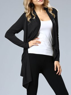 Black Solid Asymmetric Long Sleeve Outerwear