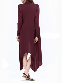 Burgundy Long Sleeve Asymmetric Outerwear