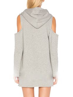 Pockets Solid Cold Shoulder Hoodie