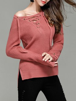 Red Acrylic Casual Lace Up V Neck Sweater