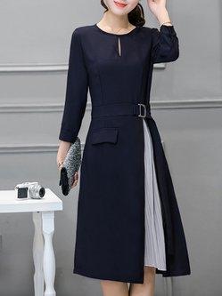 Navy Blue Crew Neck Paneled Pleated Elegant Dress