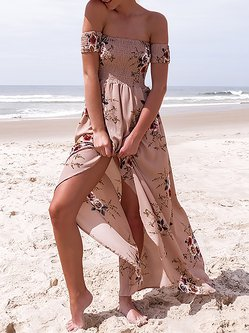 All A Dream Pink Off Shoulder Shirred Dress