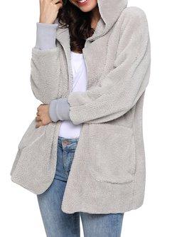 Hoodie Casual Spandex Fluffy Coat