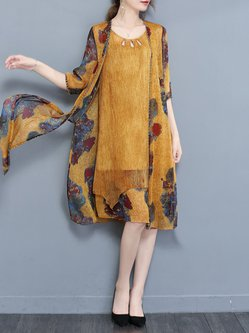 Yellow Two Piece Half Sleeve Casual Printed Dress