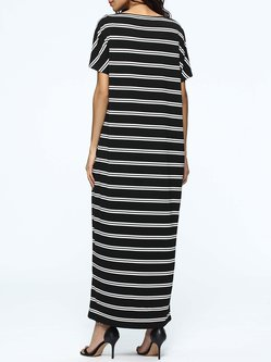 Black Stripes Casual Pockets Maxi Dress