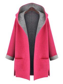 Casual Pockets H-line Long Sleeve Plain Plus Size Coat