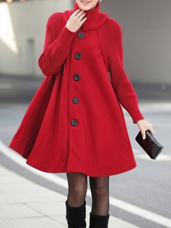 Knitted Buttoned Turtleneck Solid A-line Coat