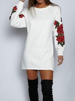 Embroidered Long Sleeve Crew Neck Sweatshirt