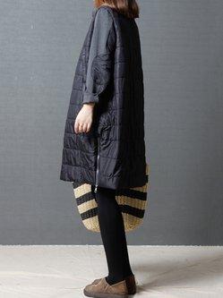 Paneled Zipper Long Sleeve Casual Stand Collar H-line Dress