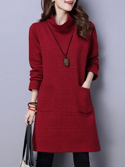 Casual Embossed Turtle Neck Long Sleeve Pockets Dress