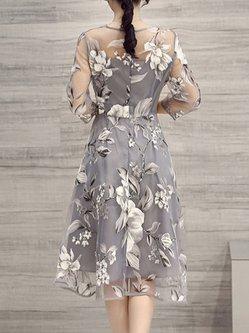 Gray 3/4 Sleeve Printed A-line Floral Elegant Dress