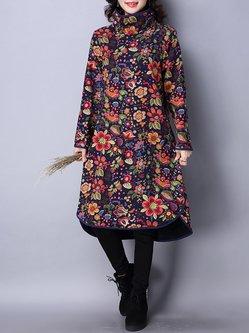 Turtleneck Casual Floral Fleece-lined Plus Size Dress