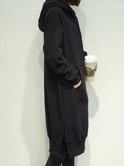 Black Pocket Casual Long Sleeve Plus Size Hoodie
