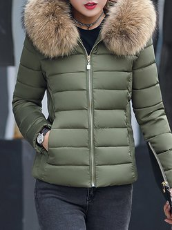 Long Sleeve Hoodie Pockets Fur Collar Plus Size Down Coat