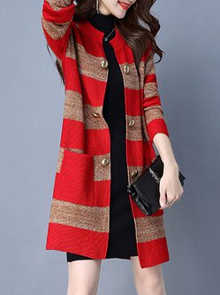 Stripes Long Sleeve Casual Knitted Plus Size Cardigan