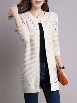 Long Sleeve Crocheted H-line Plus Size Knitted Cardigan