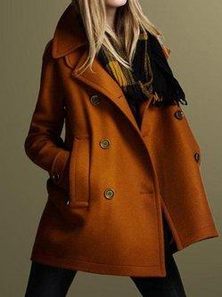 Wool Blend Long Sleeve Lapel Solid Coat