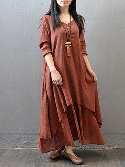 Yellow Long Sleeve Asymmetric Maxi Dress