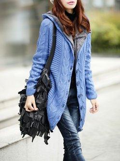 Long Sleeve Casual Buttoned Knitted Hoodie Cardigan