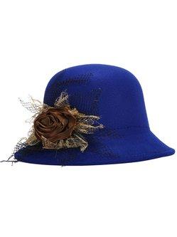Elegant Floral Wool-blend Adjustable Hat