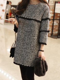 Knitted Casual 3/4 Sleeve Casual Fringed Dress