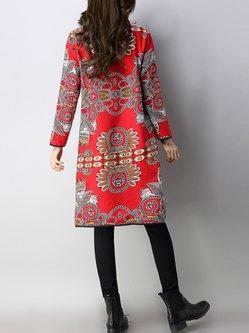 Turtleneck Long Sleeve Vintage Fleece-lined Dress