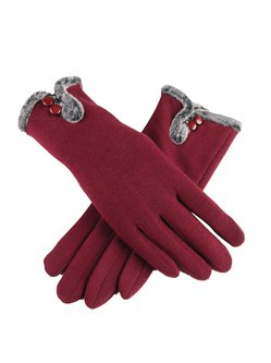 Buttoned Fleece-lined Casual Gloves