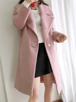 Casual Wool-blend Solid Buttoned Coat