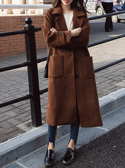 Shawl Collar Buttoned Long Sleeve Wool-blend Coat