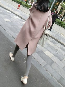 Shawl Collar Wool-blend Slit Casual Plus Size Coat