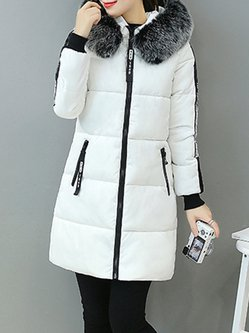 Hoodie Casual Letter Zipper Plus Size Fur Collar Down Coat
