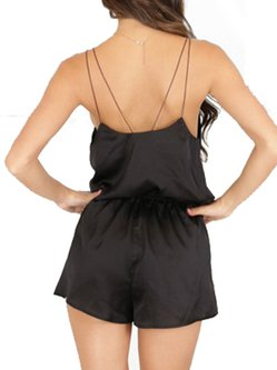 Black Spaghetti Solid Criss Cross Romper