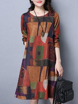 A-line Linen Abstract Long Sleeve Dress