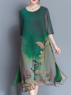 Green Asymmetrical Casual Printed Crew Neck Print Dress