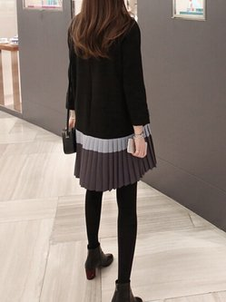 Casual Pleated Long Sleeve Crew Neck Plus Size Dress