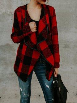 Casual Shawl Collar Plaid Coat