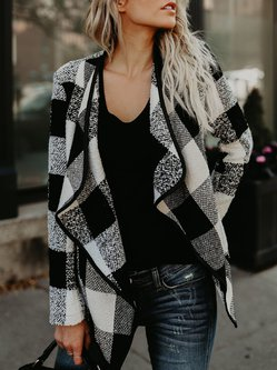Casual H-line Plaid Woven Long Sleeve Coat