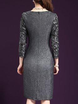Long Sleeve Beaded Elegant Sheath Plus Size Dress