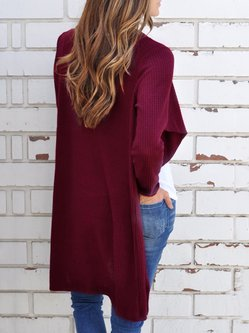 Knitted Asymmetrical Long Sleeve Casual Cardigan