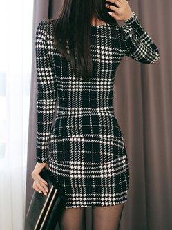 Wrap Checkered Elegant Long Sleeve Dress