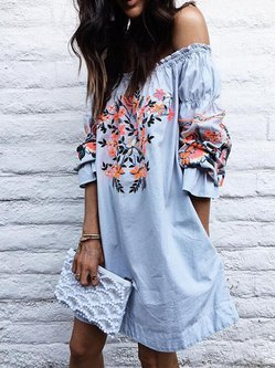 Bell Sleeve Floral-print Casual Mini Dress