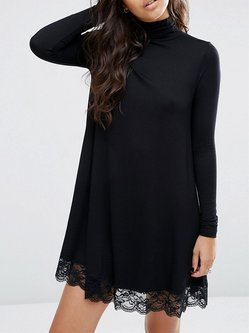 Black Mock Neck A-line Long Sleeve Paneled Mini Dress