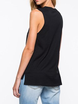 Black Sleeveless Casual Printed Crew Neck Tank Top