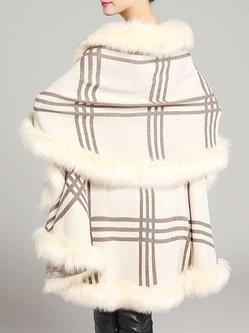Asymmetrical Cape Sleeve Casual Fur Shearling Poncho
