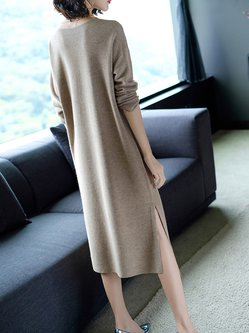 Knitted Slit H-line Solid Long Sleeve Sweater Dress