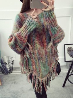 Asymmetrical Casual Knitted Poncho