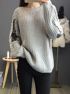 Casual Knitted Crew Neck Sweater