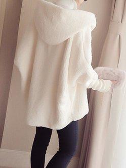 Fleece Solid Batwing Hoodie Coat